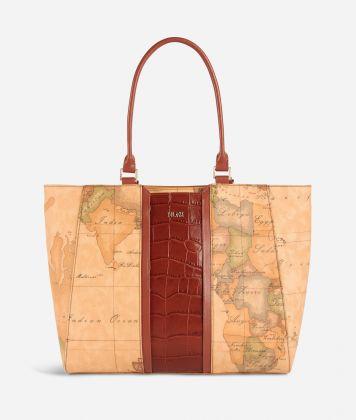 Geo Brilliant Borsa shopping in tessuto Geo Classic e pelle Terracotta