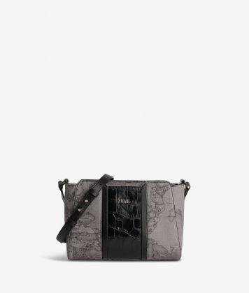 Geo Dark Brilliant shoulder bag in Geo Dark fabric and leather dark grey