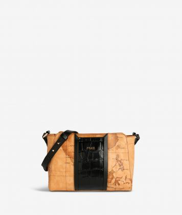 Geo Brilliant shoulder bag in Geo Classic fabric and leather black