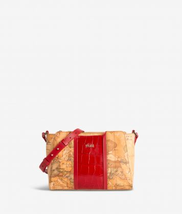 Geo Brilliant shoulder bag in Geo Classic fabric and leather scarlet red
