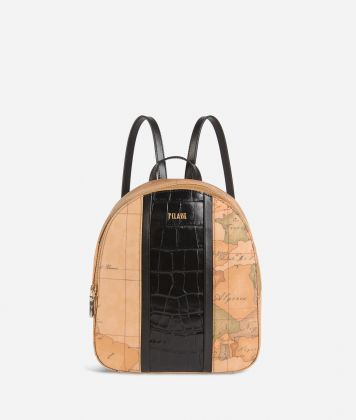 Geo Brilliant backpack in Geo Classic fabric and leather black