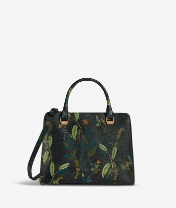 Winter Foliage handbag in saffiano embossed fabric with foliage print fir green