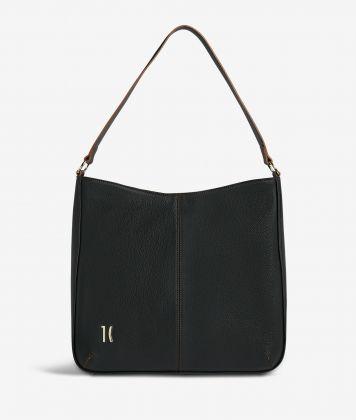 Ballet hobo bag in black fine-grain leather