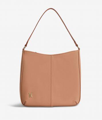 Ballet hobo bag in cinnamon fine-grain leather