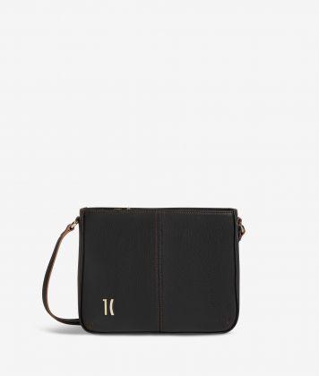 Ballet shoulder bag in black fine-grain leather