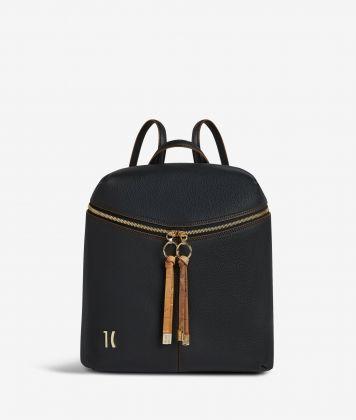 Ballet backpack in black fine-grain leather
