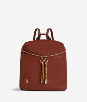 Ballet backpack in terracotta brown fine-grain leather