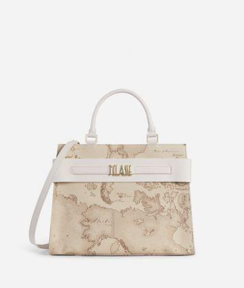 Stylish Bag Handbag in Geo Safari fabric raffia
