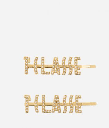 Gold-plated hair clips with 1a Classe logo