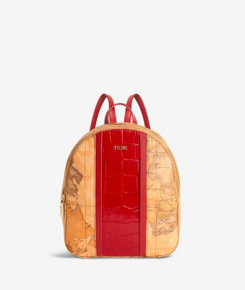 Geo Brilliant backpack in Geo Classic fabric and leather scarlet red