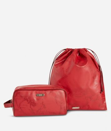 Beauty case and sack set in ruby-red Geo fabric