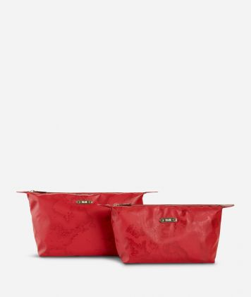 Medium-small make-up bag set in red Geo fabric