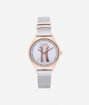 Mykonos Bicolor stainless steel watch Silver and Rose Gold