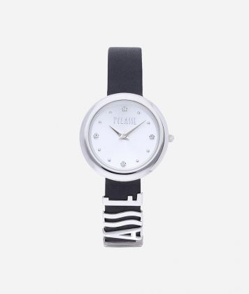 Antigua Watch with leather strap Black