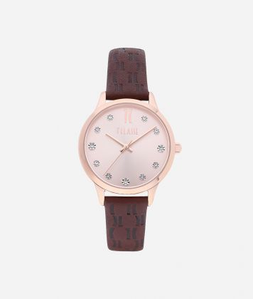 Formentera Watch with Monogram print leather strap Brown