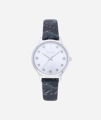 Formentera Watch with Geo Night print leather strap