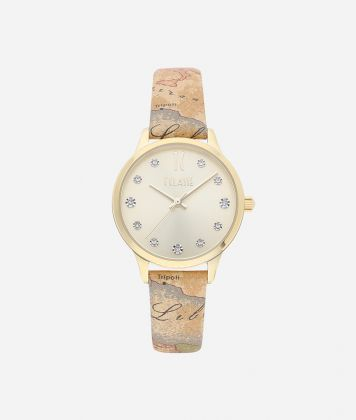 Formentera Watch with Geo Classic print leather strap