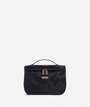 Large beauty case in black Geo fabric