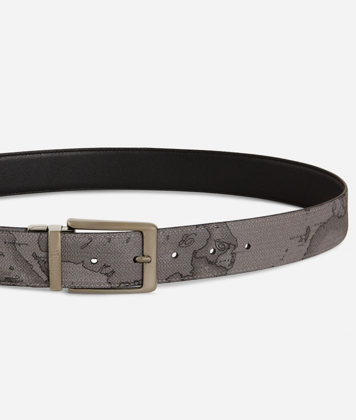 Men's belt leather grey