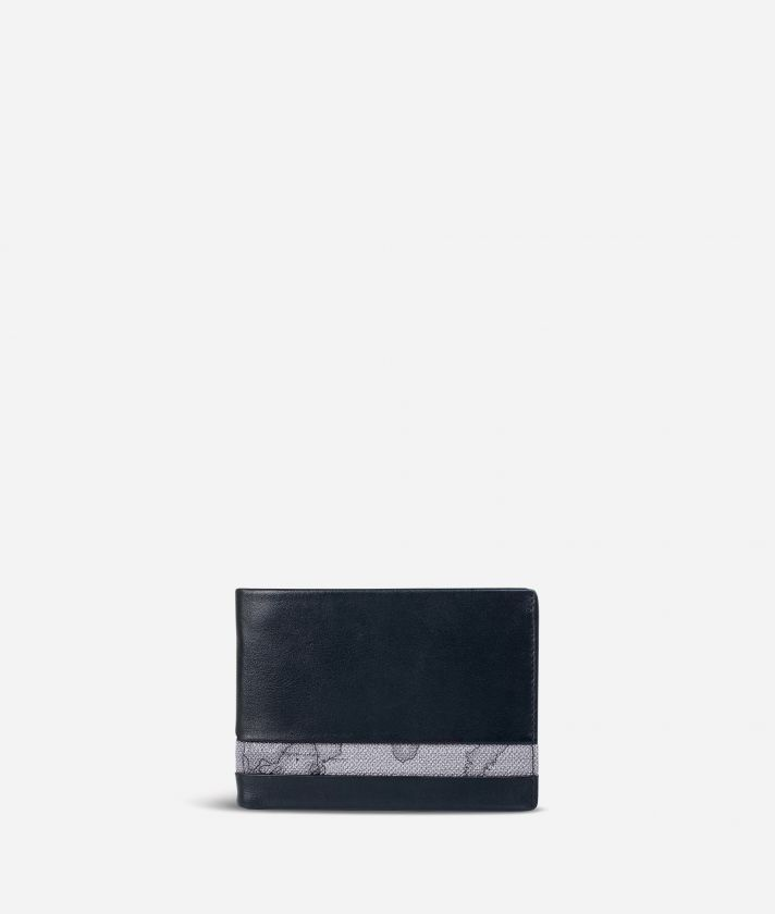 Medium leather wallet Geo Dark fabric trims