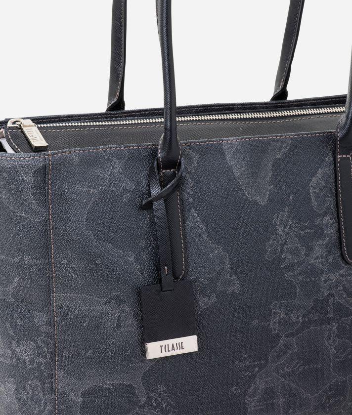 Geo Black Large shopping bag