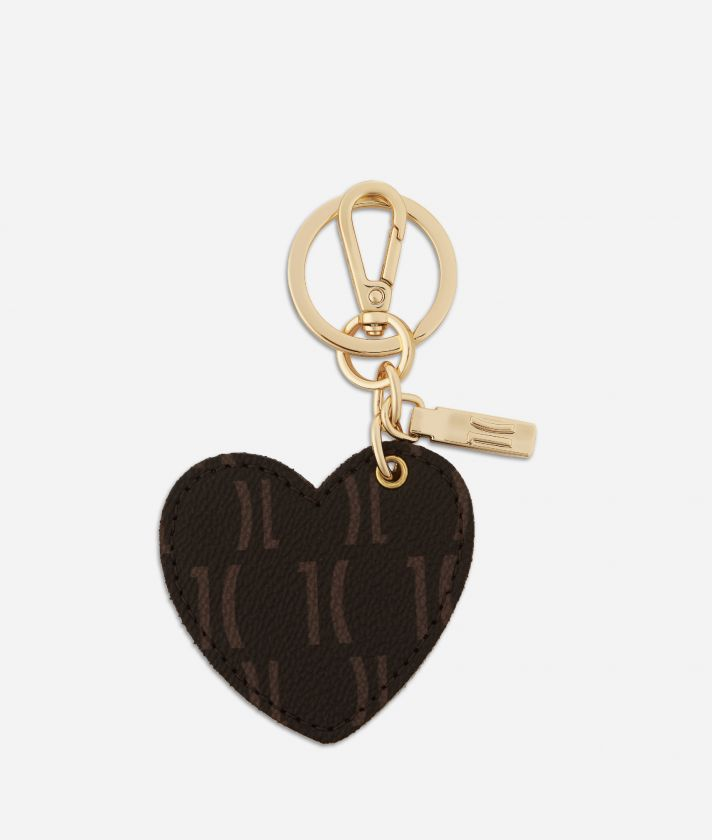 Monogram Heart-shaped Keyring Dark Buff