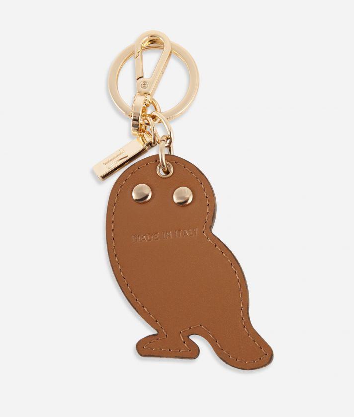 Monogram Owl-shaped keyring