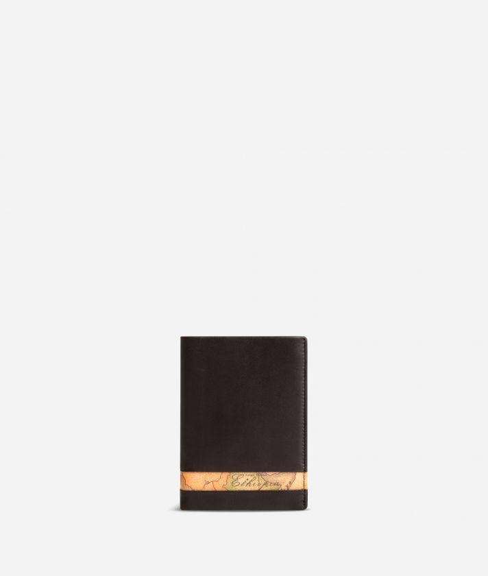 Medium leather wallet Geo Classic fabric trims