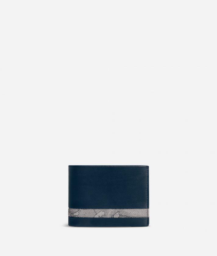 Medium leather wallet Geo Dark fabric trims