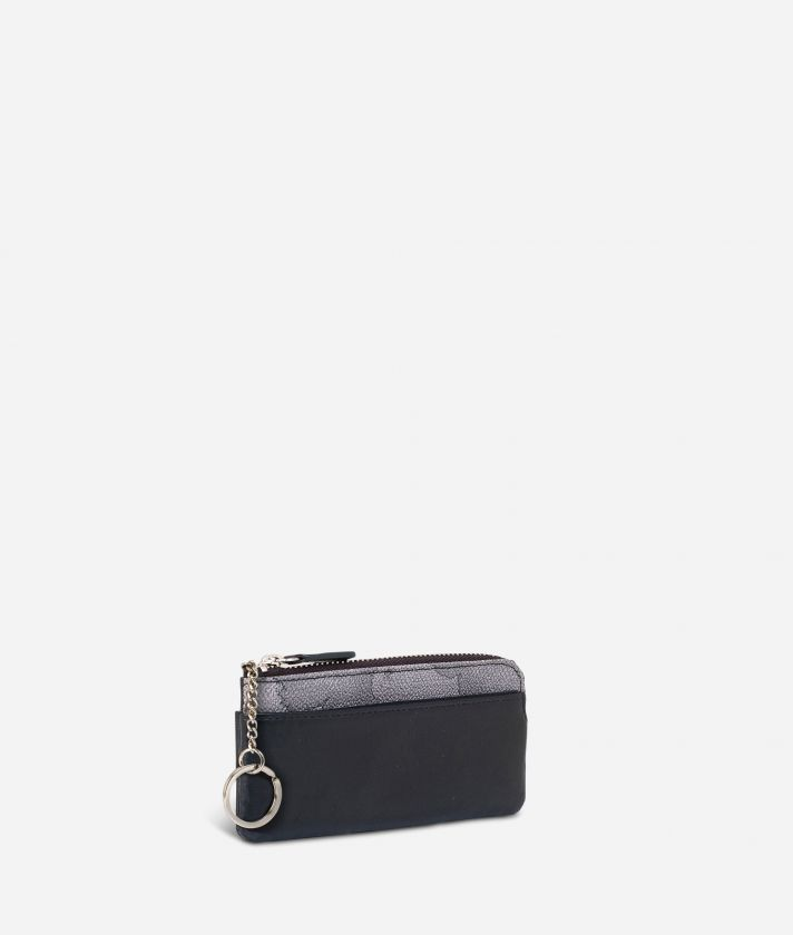 Leather key pouch Geo Dark fabric trims