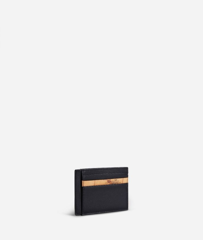 Geo Classic small card holder in leather black