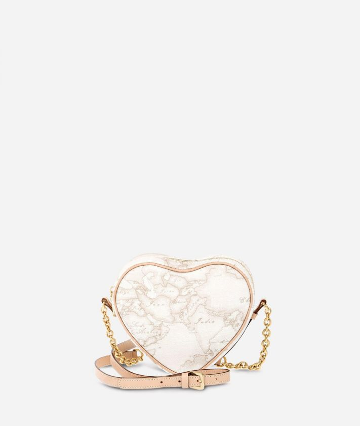 Geo White Heart mini crossbody bag
