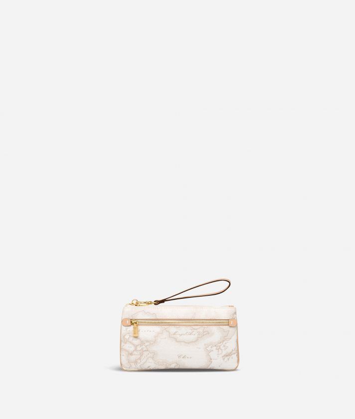 Geo White Large pouch with wristlet