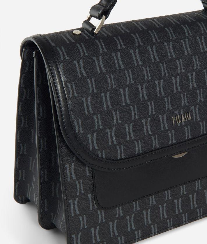 Monogram Handbag with shoulder strap Black