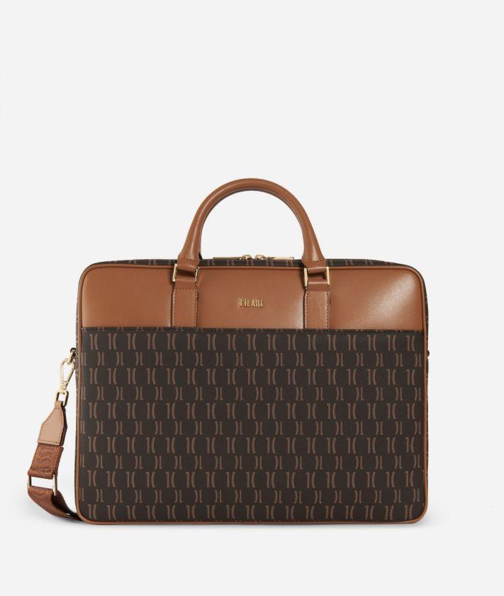 Monogram Briefcase with shoulder strap Brown