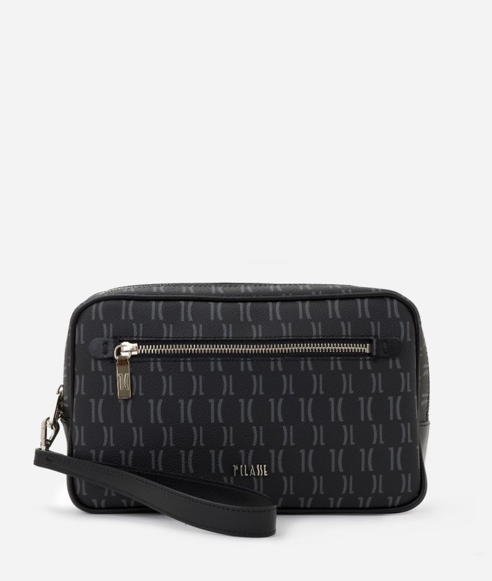 Monogram Beauty Case con manichetto Nero
