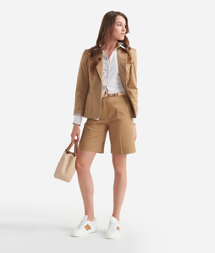 Bermuda shorts in stretch gabardine cotton Beige