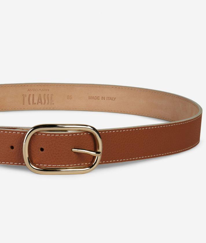 Praline Belt in grainy leather Brown