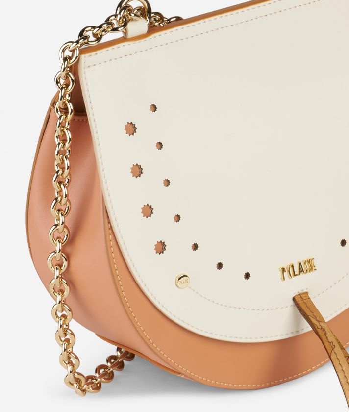 Decoré  Crossbody in smooth bicolor leather Orange and White