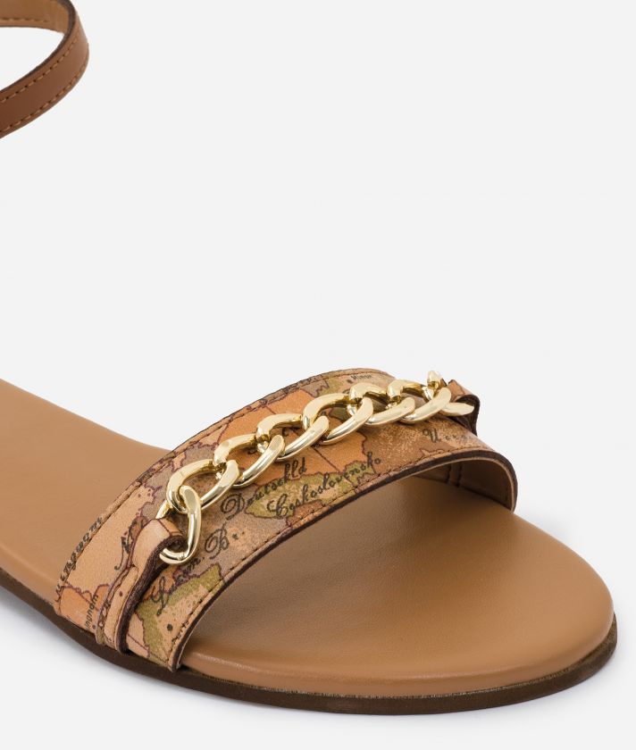 Sandal with ankle strap in pelle Marroni
