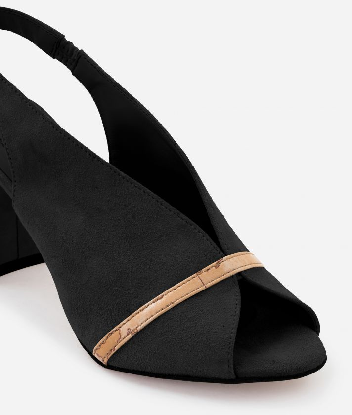 Sandal in suede leather Black
