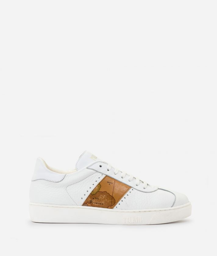 Sneakers in cowhide leather White