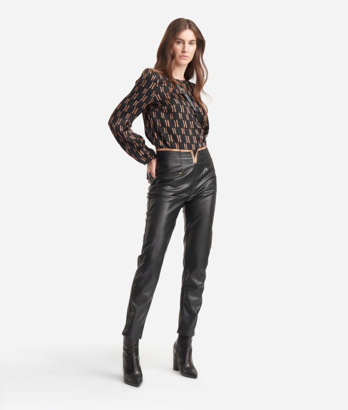 High-waist skinny pants in eco-leather Black