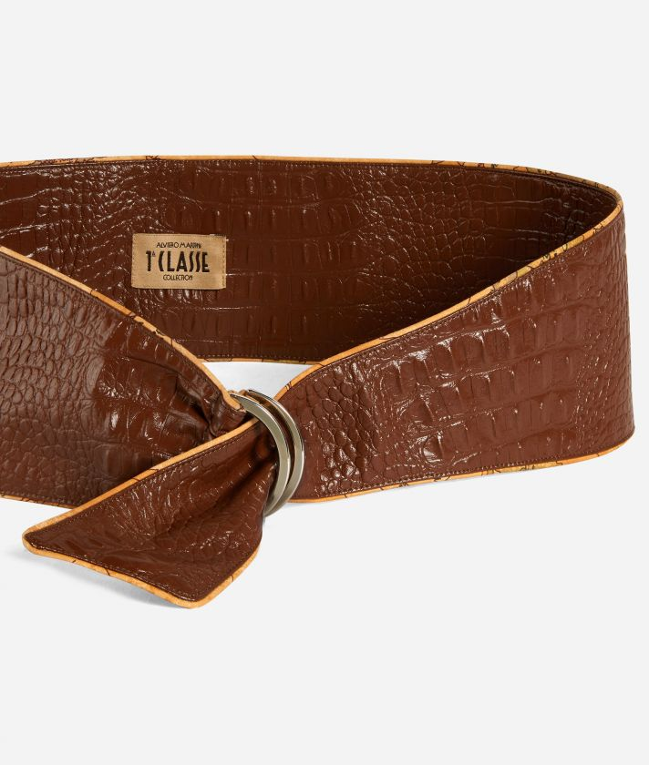 Bustier belt in mock-croc print eco-leather Brown