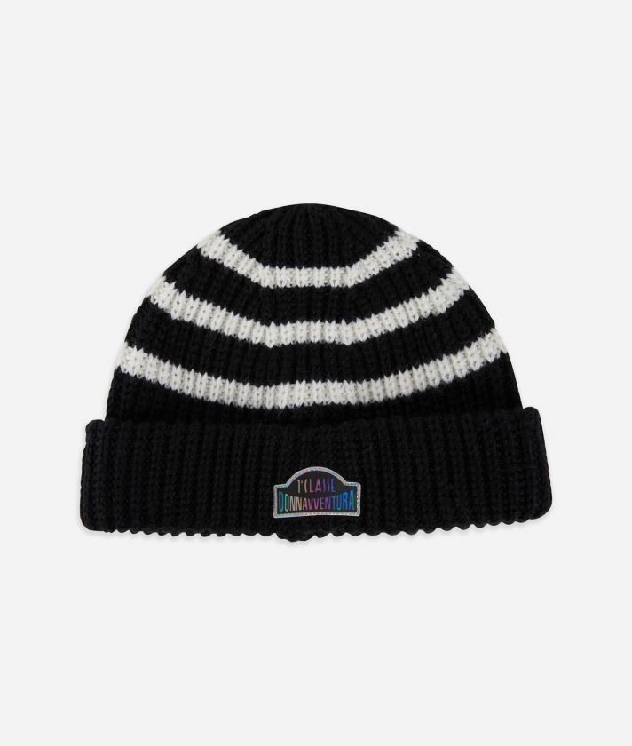 Beanie in wool blend Black and White
