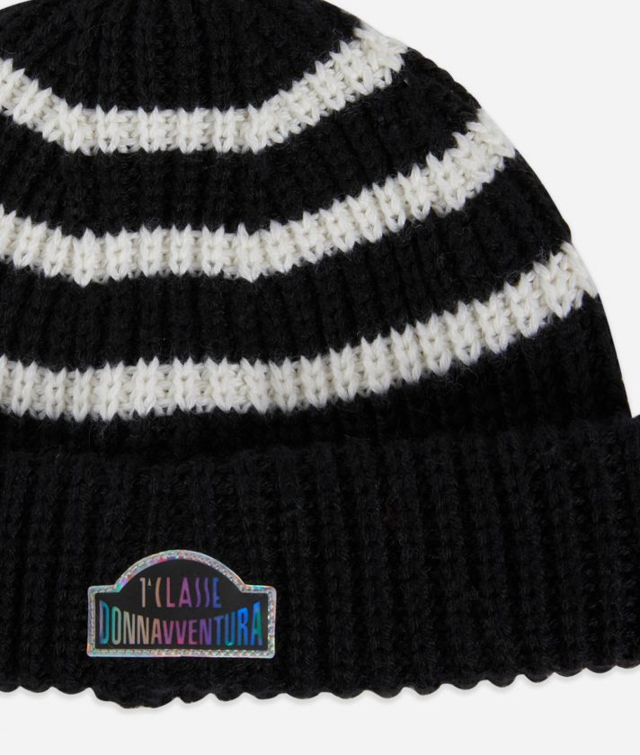 Beanie in wool blend Black and White
