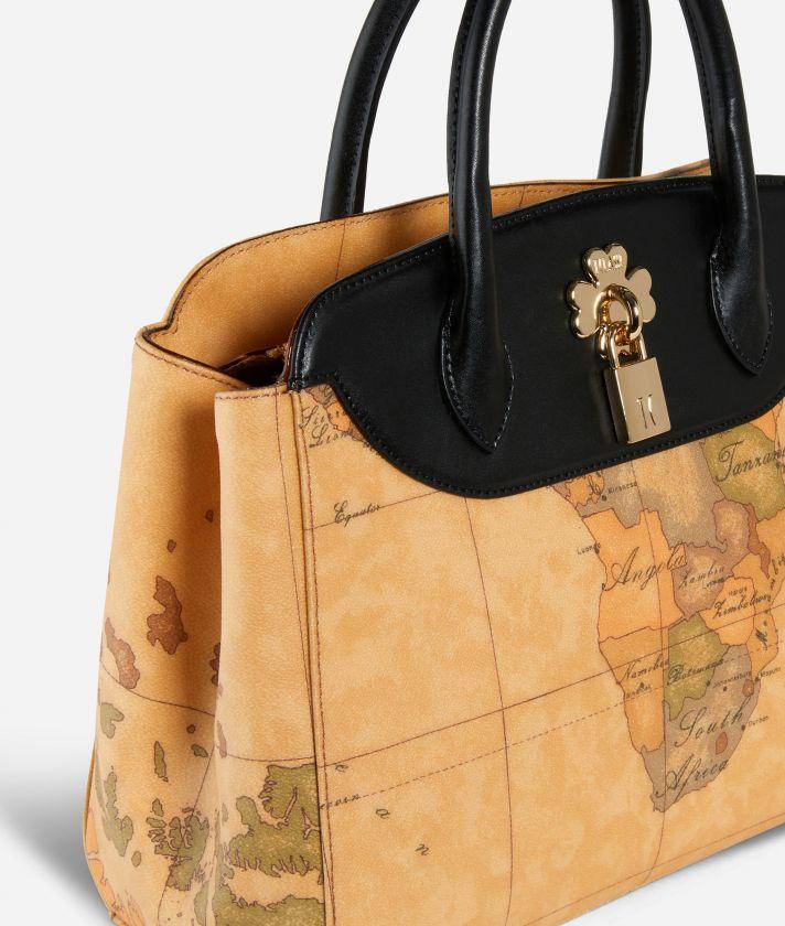 Geo Lucky Handbag in Geo Classic print fabric Black