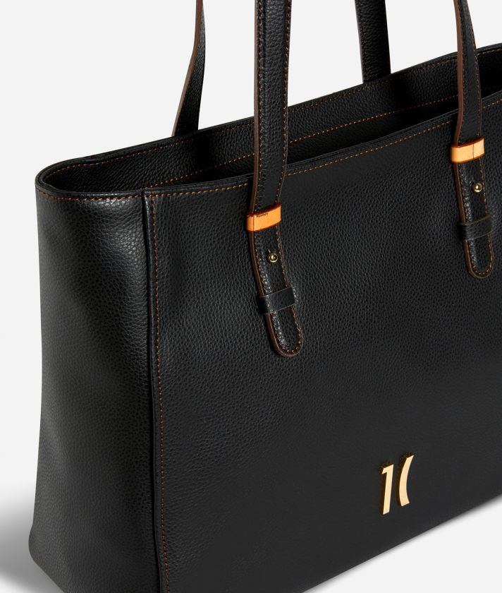 Opera Shopping bag in grainy leather Black