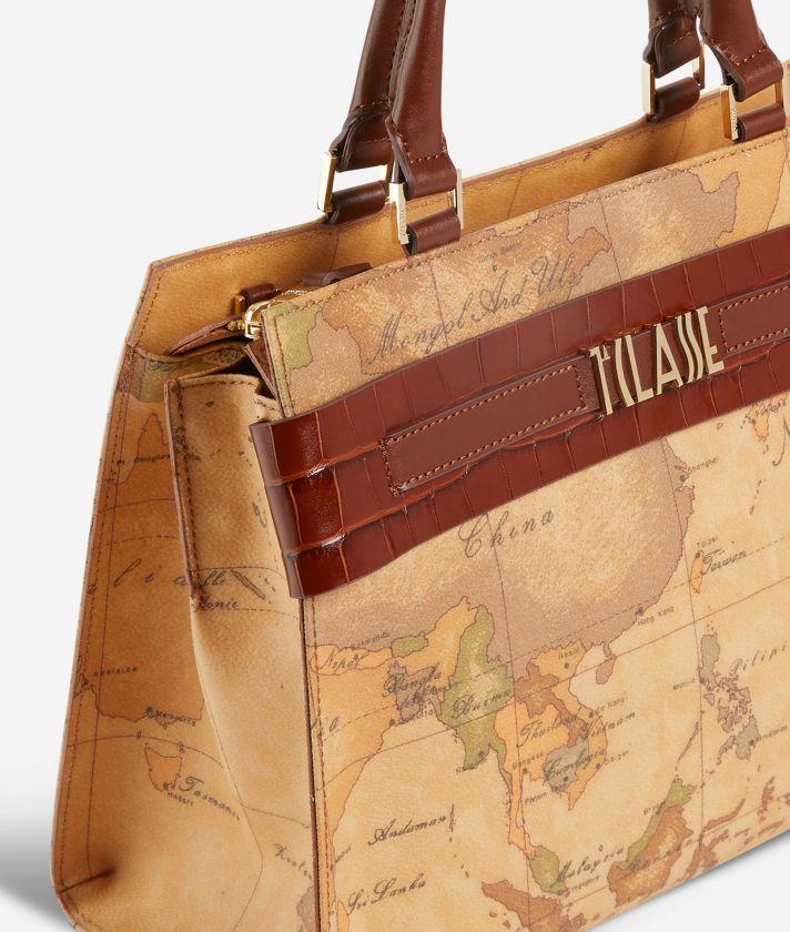 Stylish Bag Handbag in Geo Classic print fabric Cognac