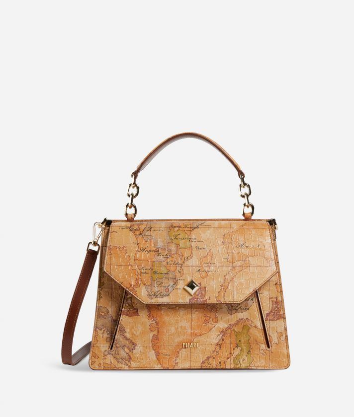 Belle Epoque Handbag in Geo Classic print nappa with mock-croc effect